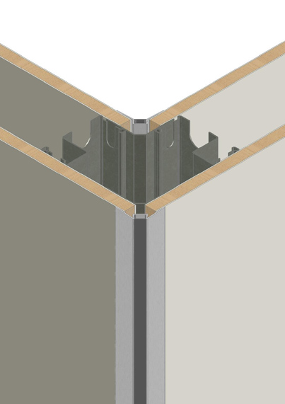 Corners - 90° & 135° integrating discreet profiles